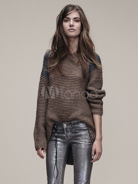 Brown Knit Sweaters Contrast Color High Low Casual Pullover Sweaters Cheap clothes, free shipping worldwide