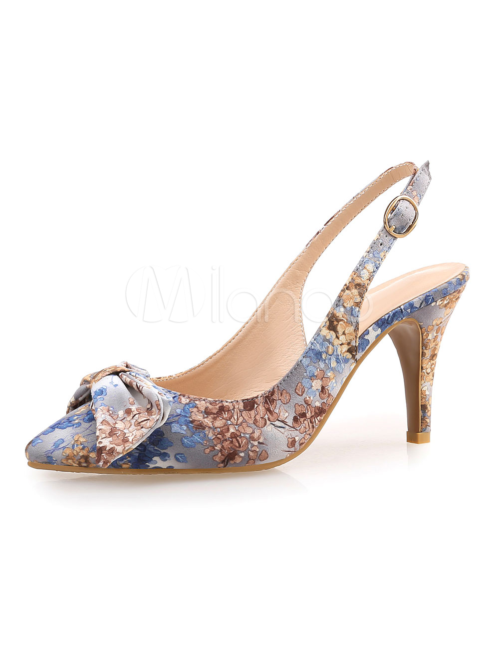 Buy Women's Evening Shoes Pointed High Heel Sandals Handmade Floral Print Stiletto Heel for $37.99 in Milanoo store