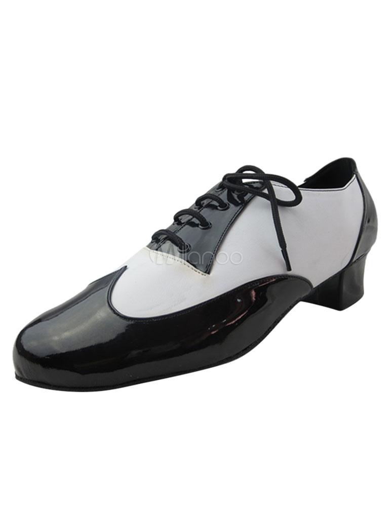 Negro baile de salón zapatos hombres ronda Toe con encaje dos tono grueso tacón zapatos de baile XHpD6