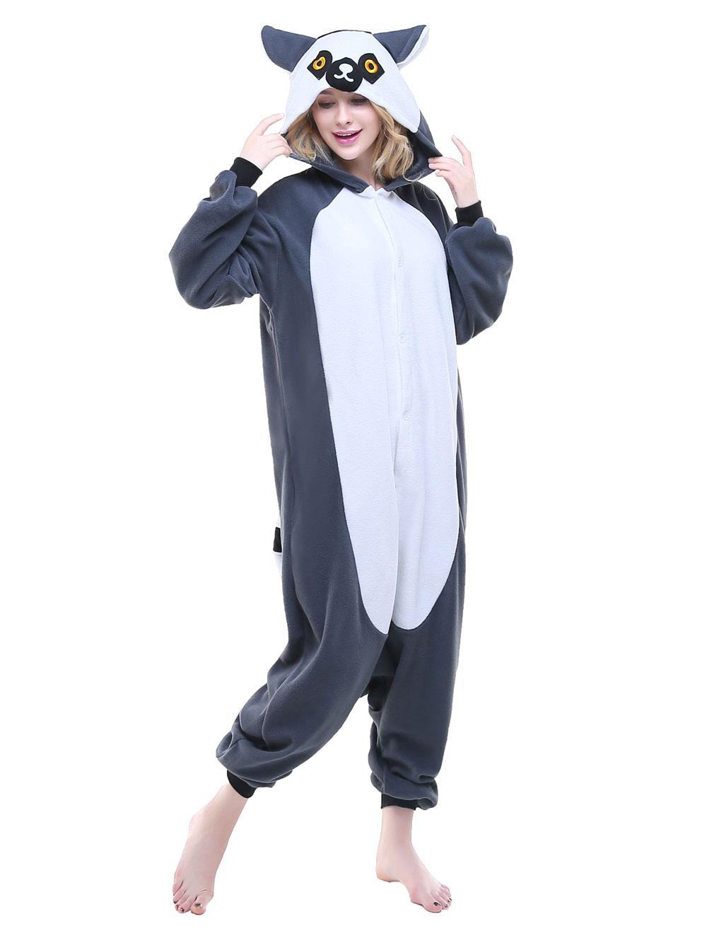 7f03566907 Kigurumi Pajama Lemur Onesie Flannel Adults Unisex Animal Sleepwear Costume  Halloween - Milanoo.com
