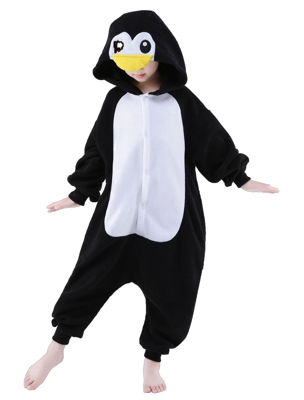 21ed24ad8 Preto Sleepwear Animal Onesie pinguim Kigurumi fantasia infantil Halloween  - Milanoo.com