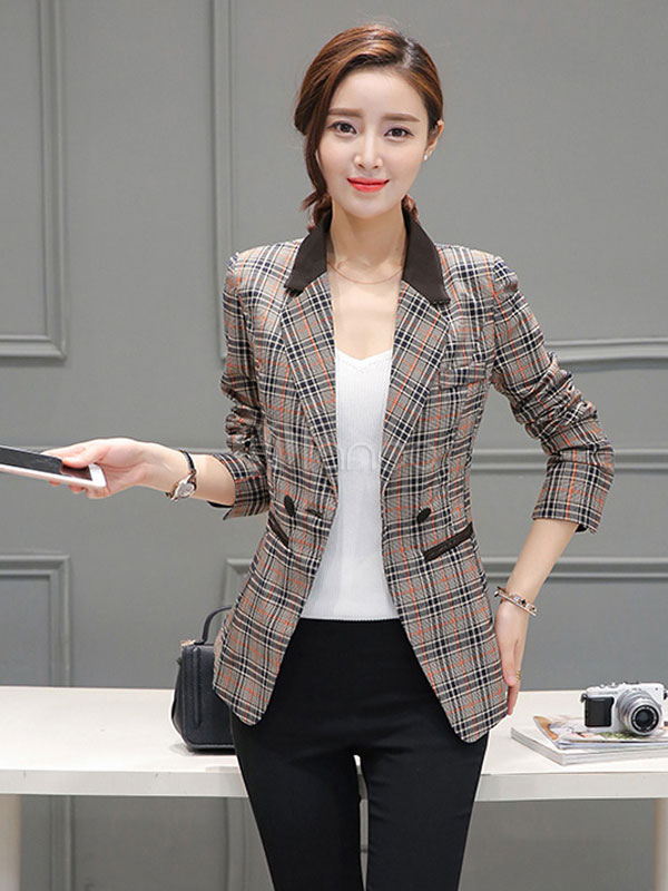 Plaided Women's Blazer Cotton Double-breasted 2-button Long Sleeve Turndown Collar Jacket Cheap clothes, free shipping worldwide