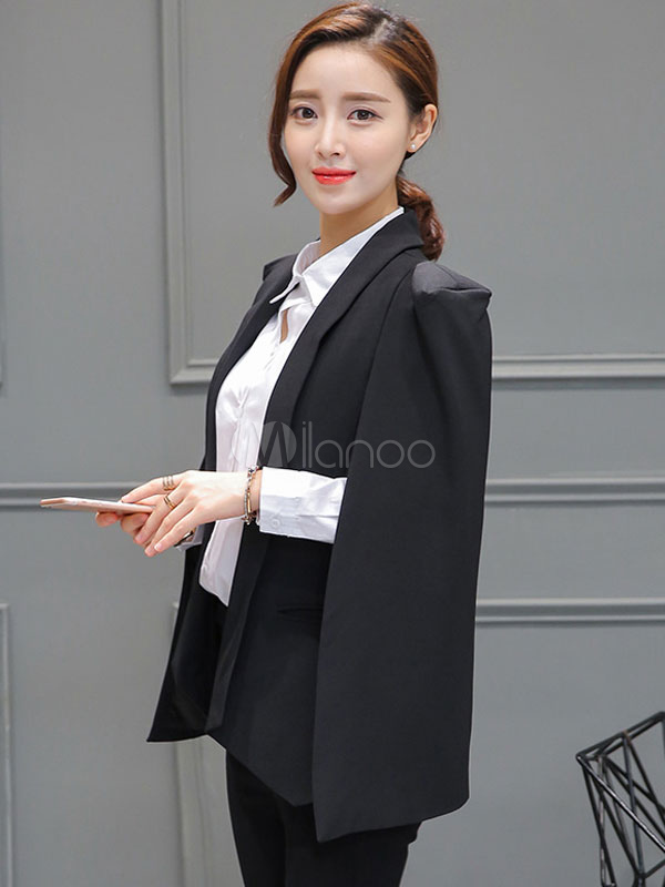 Milanoo / Black Cloak Blazer Women's Long Sleeve Turndown Collar Open Front Coat With Pockets