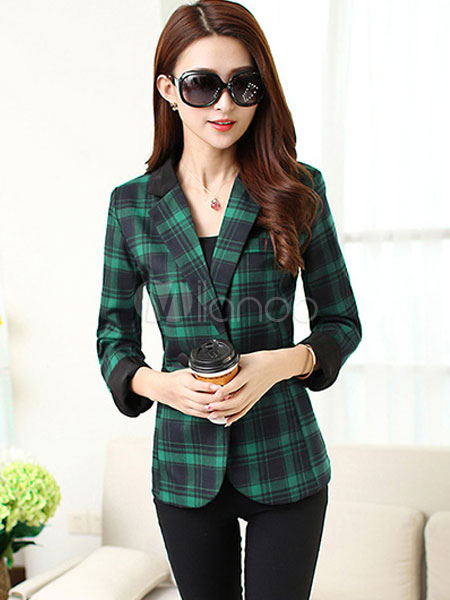 Women's Plaided Blazer Green Cotton Long Sleeve Notch Collar Button Jacket With Pockets Cheap clothes, free shipping worldwide