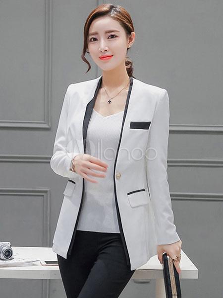 12f57e6b7ec48 ... Americanas mujer sintética blanca con cuello en V blazer de dos tonos  con bolsillos estilo moderno ...