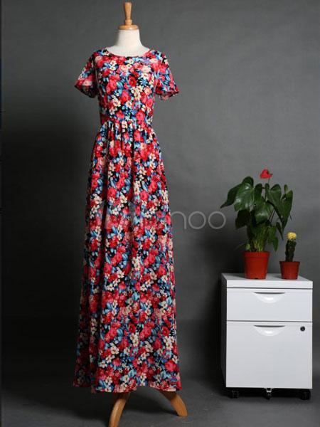 dee3addb94ad ... Manica corta rosso floreale stampa Maxi Dress Donna tagliata con abiti  lunghi-No.3 ...