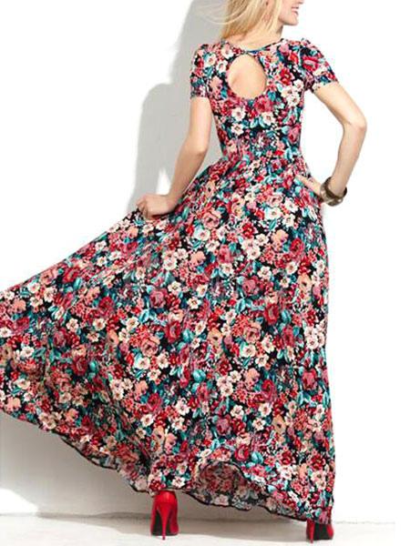 dac895a0001b ... Manica corta rosso floreale stampa Maxi Dress Donna tagliata con abiti  lunghi-No.2 ...