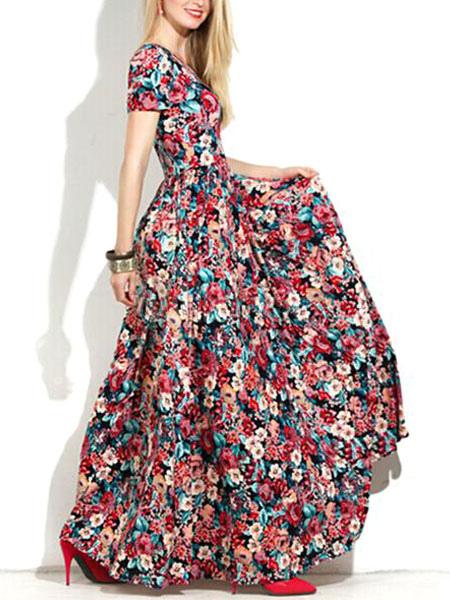 bcd5a791f6d3 Manica corta rosso floreale stampa Maxi Dress Donna tagliata con abiti  lunghi-No.1 ...