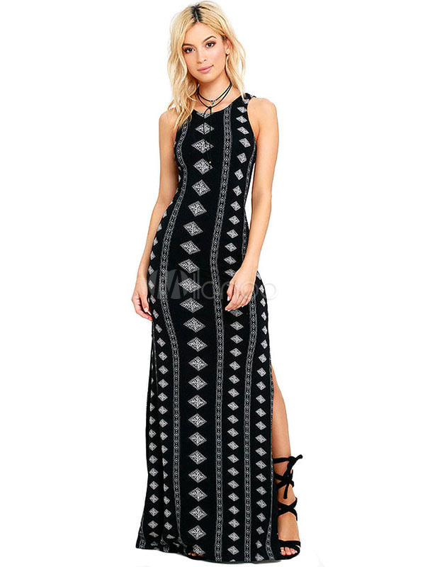 Thigh Split Dress Black Straps Geometric Print Tank Maxi Dress