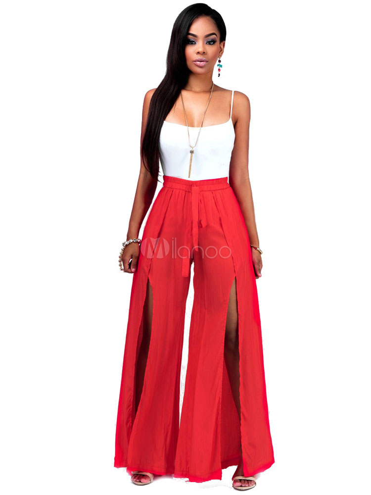 Red 2-Piece Outfit In Sleeveless Cami Top & Split Skirt For Women Cheap clothes, free shipping worldwide
