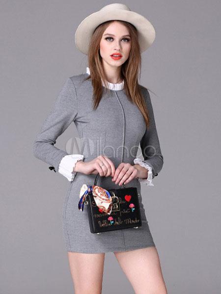 pretty nice 57332 0ccb3 Vestiti stretti ruches dettagli manica lunga cerniera posteriore Chic  modellatura Slim abiti da donna