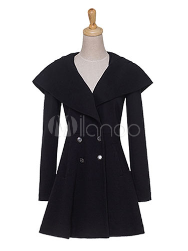 Black Hooded Coat Women's Long Sleeve Double-breasted 2-button ...