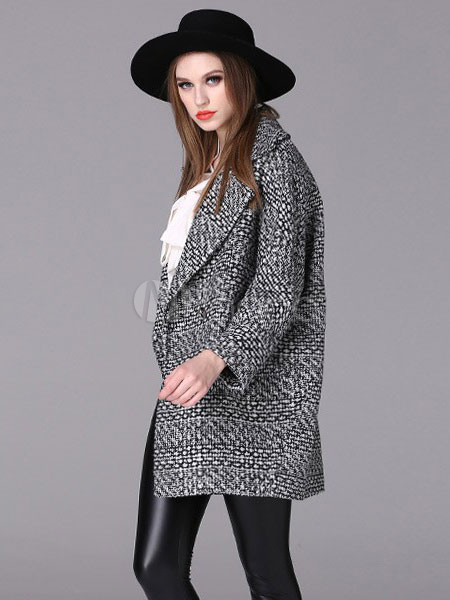 Black Tweed Coat Women's Long Sleeve Single-breasted 2-button Notch Collar Overcoat With Pockets