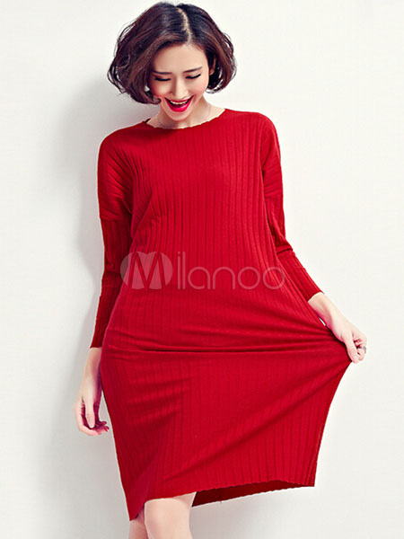 Red Sweater Dress Long Sleeve Women's Comfortable Cotton Knit Dress Cheap clothes, free shipping worldwide