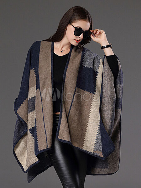 Poncho Knitwear Oversized Sweater Women Plaid Cape Coat Cheap clothes, free shipping worldwide