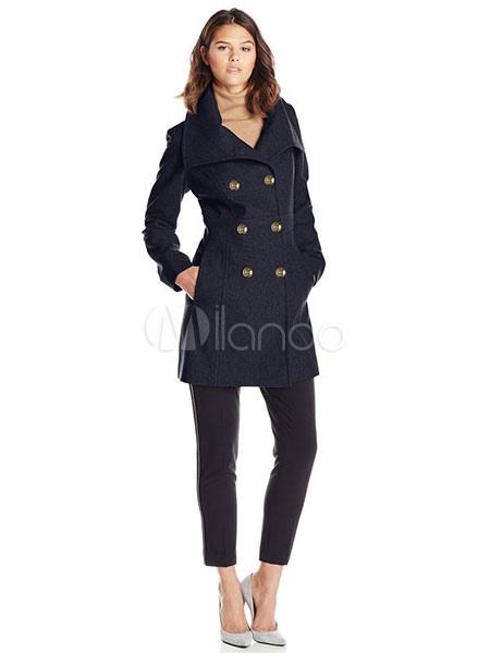 new product feb4c 18c12 Lana cappotto doppio petto donna indietro divisa Peacoat di media lunghezza