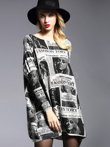 Black Sweater Dress Women's Cotton Long Sleeve Letters Printed Knitted Dress