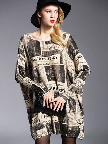 schwarzer pullover kleid damen baumwolle langarm buchstaben gedruckt strickkleid. Black Bedroom Furniture Sets. Home Design Ideas