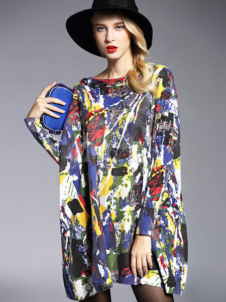 Cotton Sweater Dresses Women's Floral Print Oversized Cotton Knit Dresses Cheap clothes, free shipping worldwide