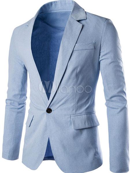 Blazer Men Casual Long Sleeve Spring Jacket Turndown Collar Light Blue Blazer For Men