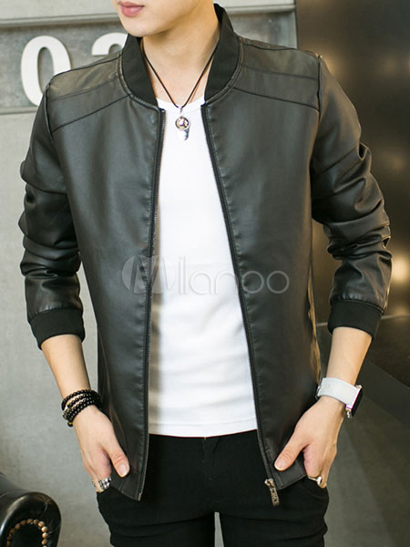 Men Leather Jacket Zip Up Slim Fit Black Short Bomber Jacket