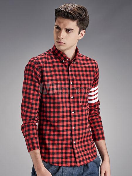 6ef602db32 Botão de camisa xadrez preto/vermelho cheque camisas masculinas mangas  compridas gola-No.