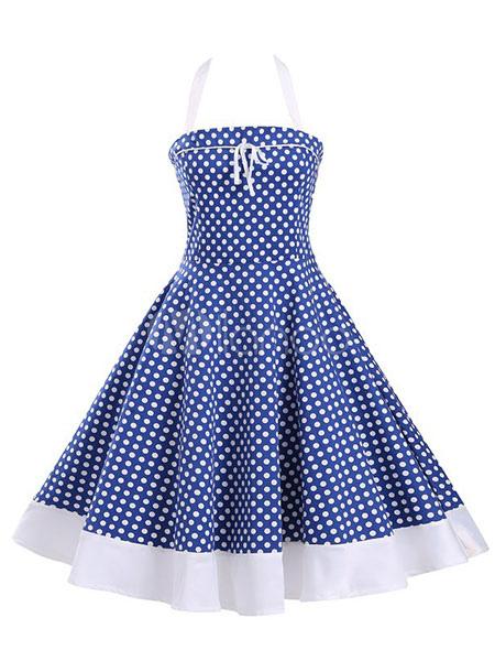 Buy Blue Vintage Dresses Polka Dot Lace Up Sleeveless Women's Full Skirt Dresses for $35.99 in Milanoo store