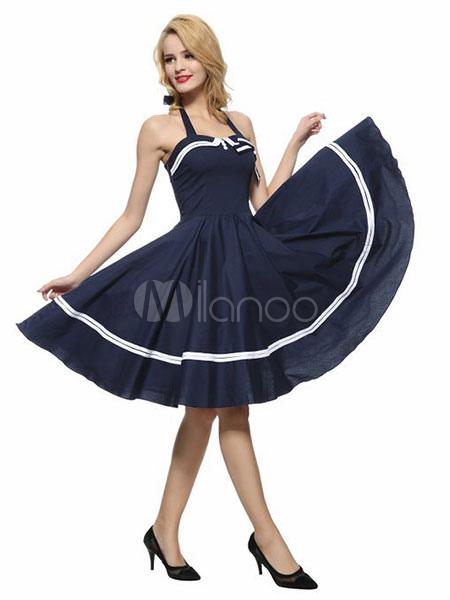 Buy Women's Vintage Dresses Sleeveless Backless Strappy Full Skirt Dresses for $39.99 in Milanoo store