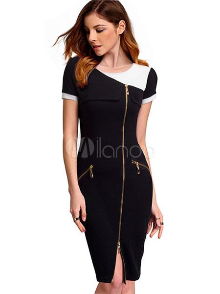 newest collection a8c2d aca1b Chiusure lampo di due colori di nero vestito aderente manica corta fessura  tubino di donne