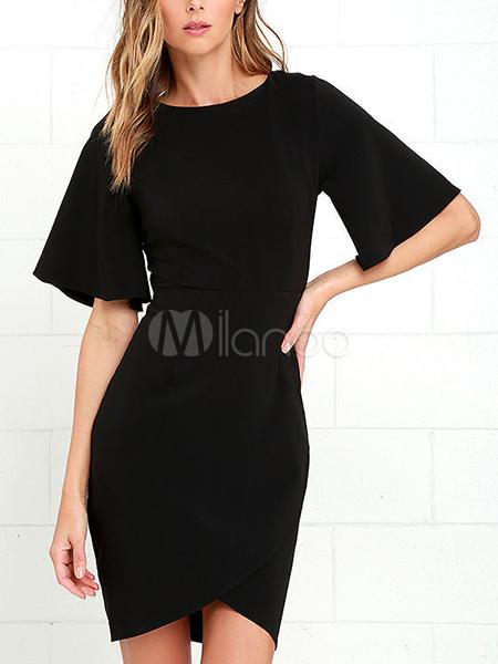 Black Bodycon Dress Flare Sleeve Low Back Split Sheath Dress For Women-No.1  ... 596afa0a7