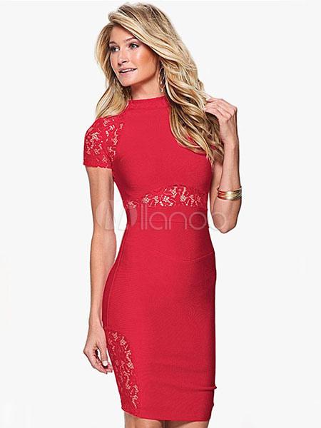 336b46623455 Rosso cerniera posteriore semi-velato tubino Bodycon donne vestito in  pizzo-No.1 ...