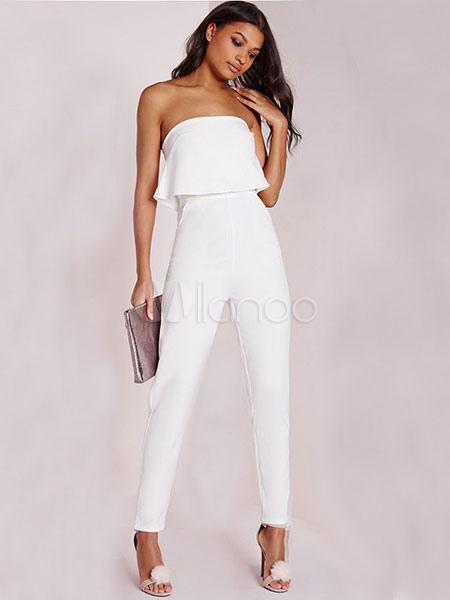 Buy Women White Jumpsuit Strapless Sleeveless Ruffled Backless Long Jumpsuit for $19.59 in Milanoo store