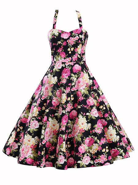 Buy Black Vintage Dresses Floral Print Backless Pleated Full Skirt Dresses For Women for $28.49 in Milanoo store