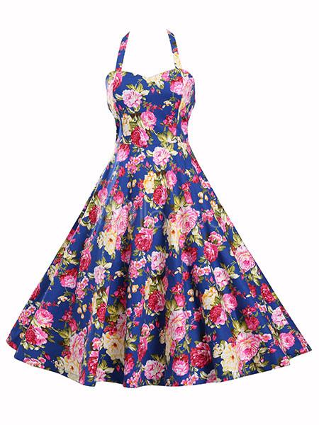 Buy Blue Vintage Dresses Floral Print Strappy Backless Full Skirt Dresses For Women for $39.99 in Milanoo store
