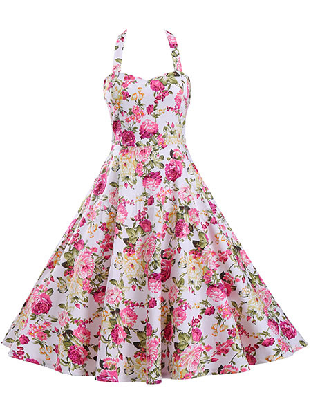 Buy Pink Vintage Dresses Floral Print Strappy Backless Full Skirt Dresses For Women for $35.99 in Milanoo store