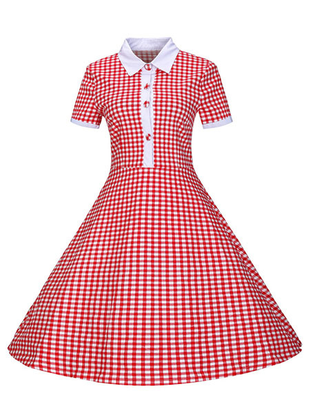 Vintage Shirt Dress Red Midi Dress Gingham 1950 Women Vintage Dresses Cheap clothes, free shipping worldwide