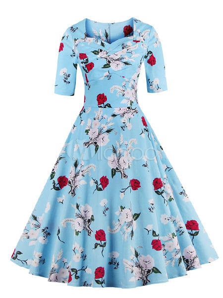 Blue Vintage Dress Floral Print Half-Sleeve Flare Dress For Women