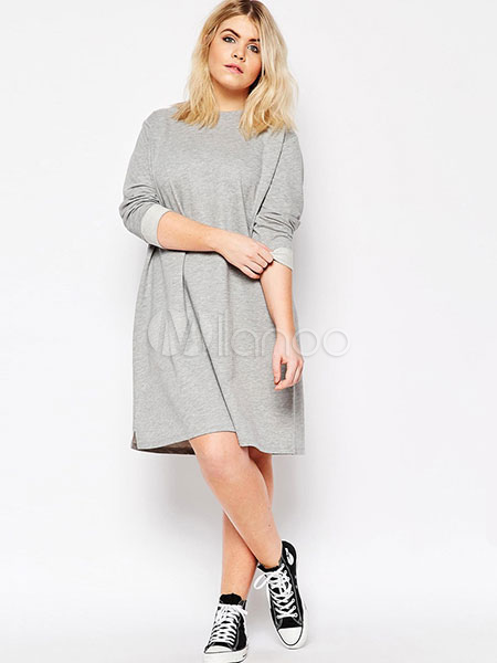 Gray Shift Dresses Women's Long Sleeve Oversized Casual Sweater ...