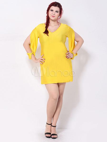 sports shoes 2db3e 8782a Manica lunga spalla aperta Cut-out abito vestito giallo donna di grandi  dimensioni