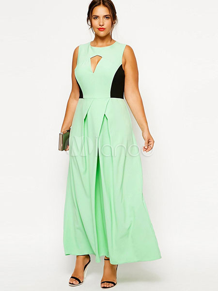 Buy Oversized Maxi Dress Green Cut-out Two-tone Plus Size Long Dress For Women for $26.34 in Milanoo store