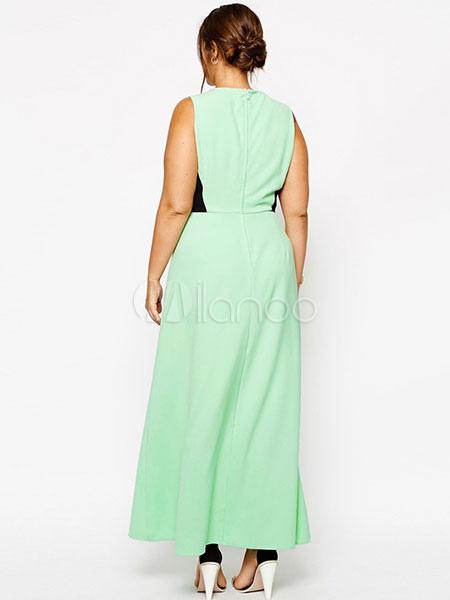 399fe76fac58 ... Oversize Maxi abito verde di Cut-out bicolore Plus Size Abito lungo per  le donne ...