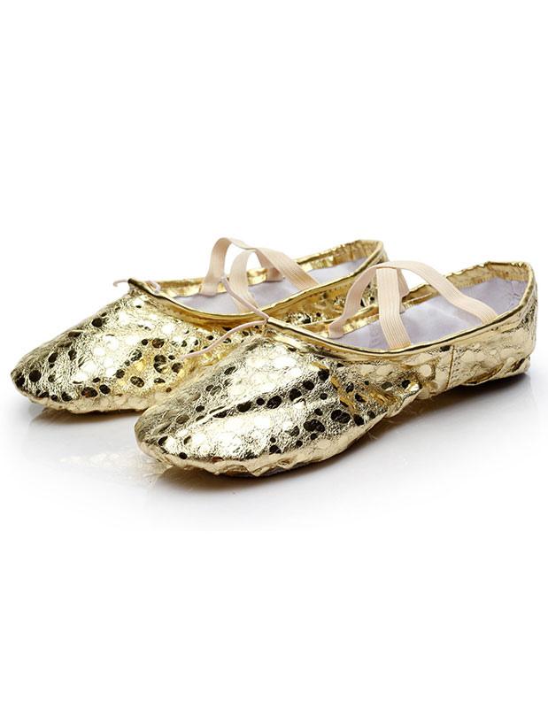 Zapatos de Ballet 2018 oro zapatos de baile mujer Slip-on ovalada cruzado Ipr3aZT