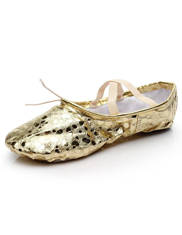 Gold Ballet Shoes 2018 Women Round Toe Criss Cross Dance Shoes