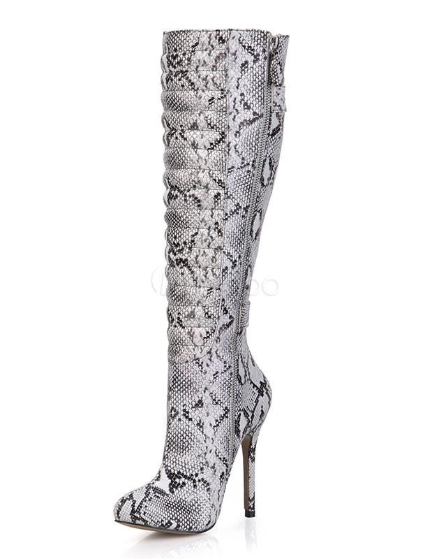 codice promozionale 57750 c4ddd Stivali pitone stampa fibbie tacco alto donne stivali sopra il ginocchio