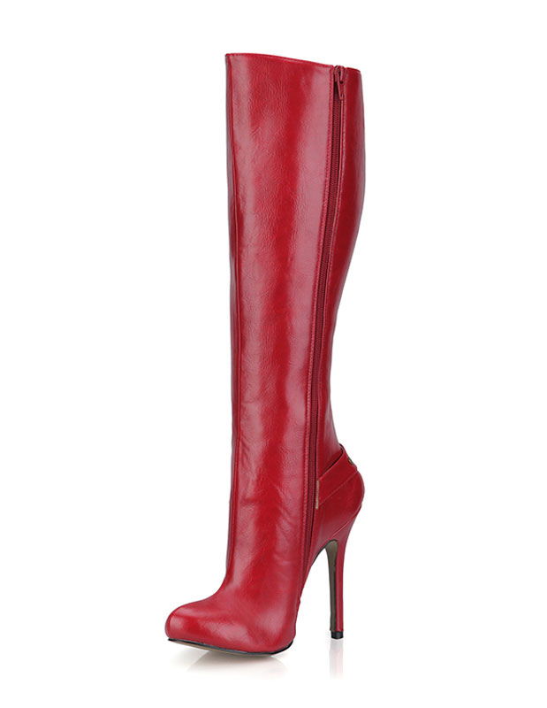 Red Knee-length Boots Women's High Heel Round Toe Buckle Stiletto Boots
