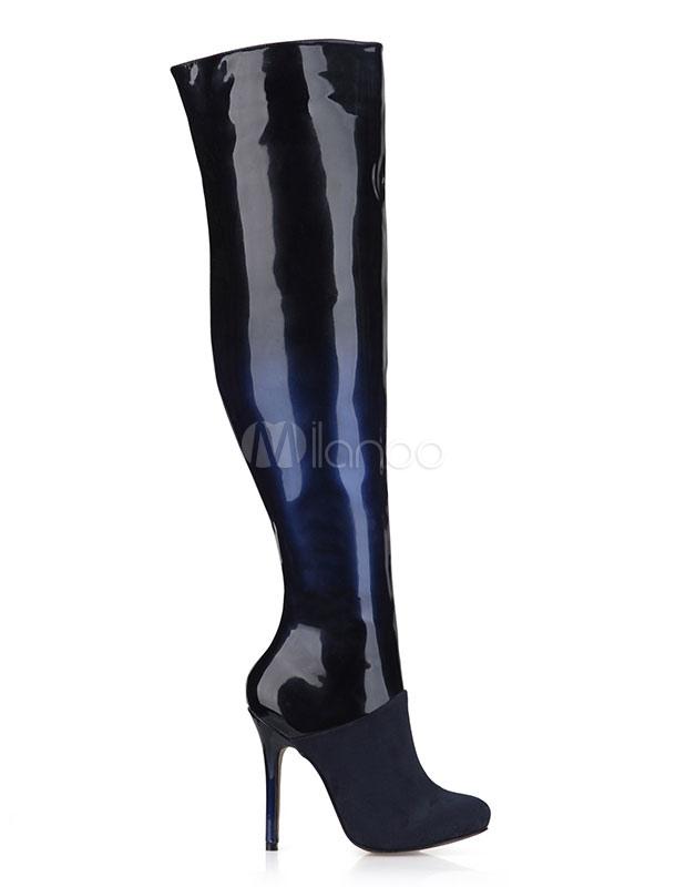fcdff17ac9b ... Botas altas para mujer Patente de cuero Omber tacón alto sobre botas de  rodilla-No