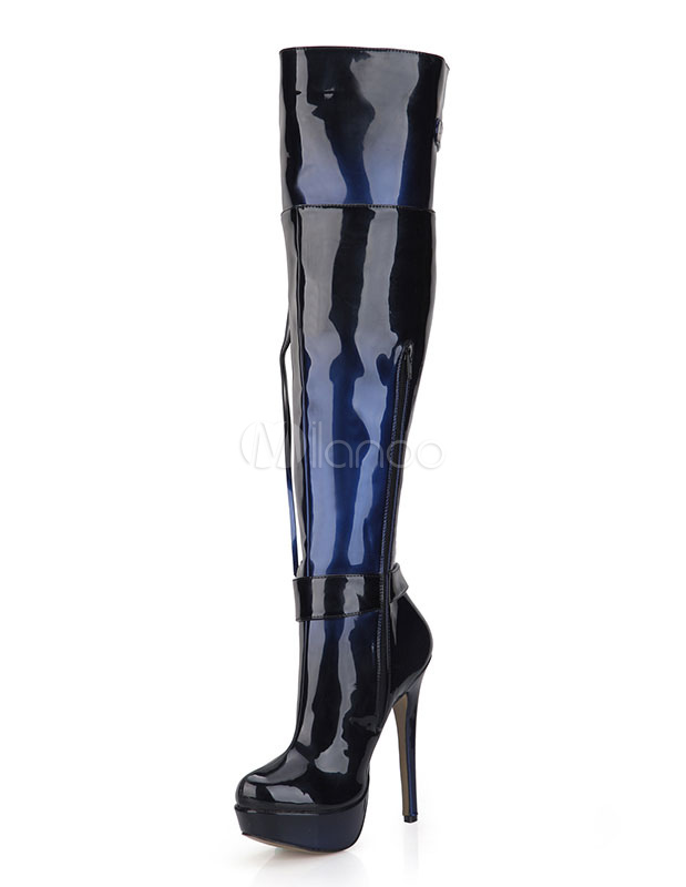 Thigh High Boots Women's Round High Heel Over Knee Boots For Winter