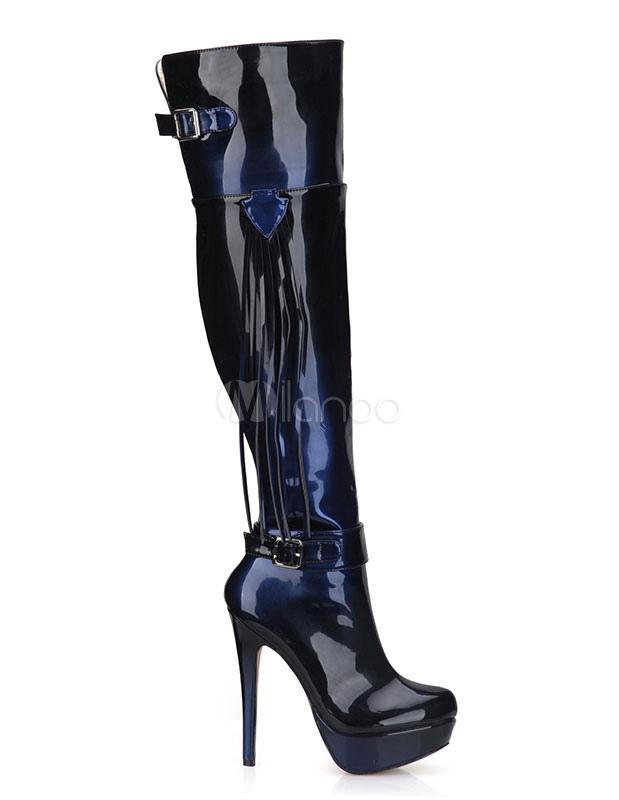 Botas altas de muslo para mujeres Botas de tacón alto sobre botas de rodilla para el invierno 5Ih4Y4