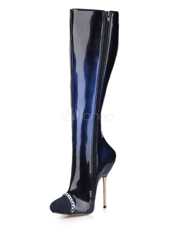 Women's High Boots Round Toe Zipper Chains Ombre High Heel Over The Knee Boots