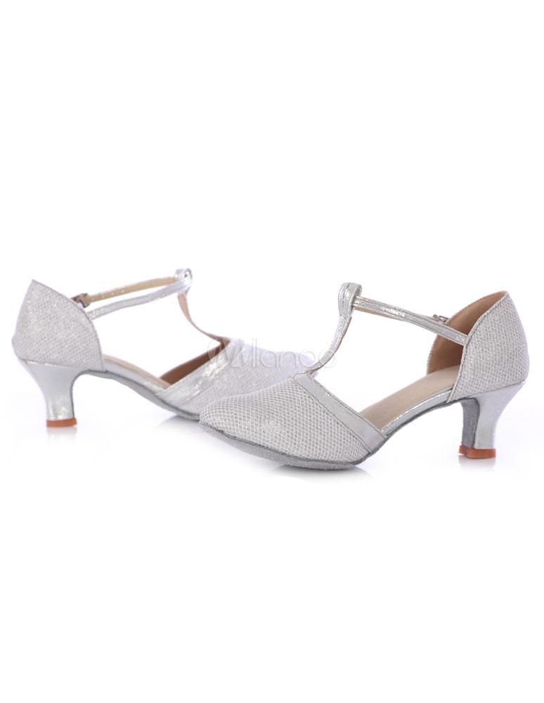 Dedo del pie redondo de baile personalizado zapatos mujer con lentejuelas salón Kitten Heels bcDDj